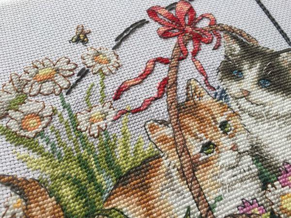 Вышивка  «Котята и времена года» . Лето. Процесс | Ярмарка Мастеров - ручная работа, handmade