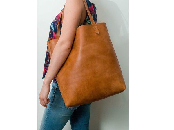 Шьем сумку-шоппер из натуральной толстой кожи без машинки и навыков шитья | Ярмарка Мастеров - ручная работа, handmade