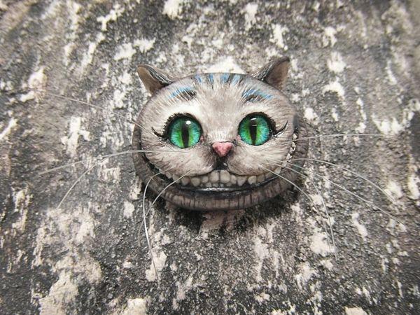 Брошь: Чеширский кот | Ярмарка Мастеров - ручная работа, handmade