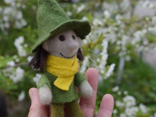 Снусмумрик — валяная пальчиковая игрушка   Ярмарка Мастеров - ручная работа, handmade