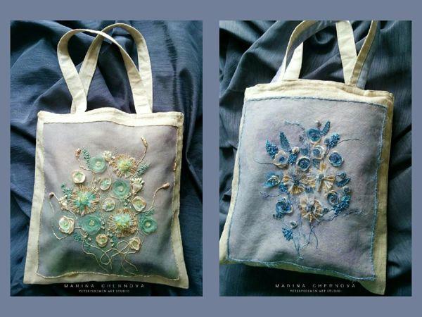 Вышивка летней сумочки объемными цветами | Ярмарка Мастеров - ручная работа, handmade
