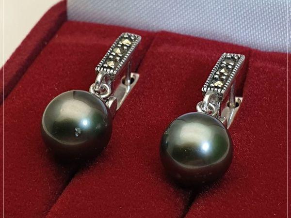 Серьги с морским жемчугом Таити «Чёрная ночь» серебро 925   Ярмарка Мастеров - ручная работа, handmade