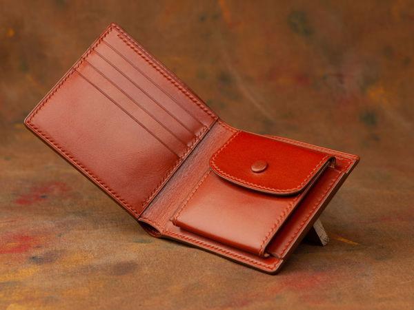 Кошелек из кожи с карманом для монет | Ярмарка Мастеров - ручная работа, handmade