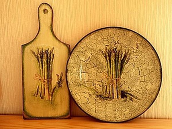 Тарелка с обратным декупажем и кракелюром | Ярмарка Мастеров - ручная работа, handmade