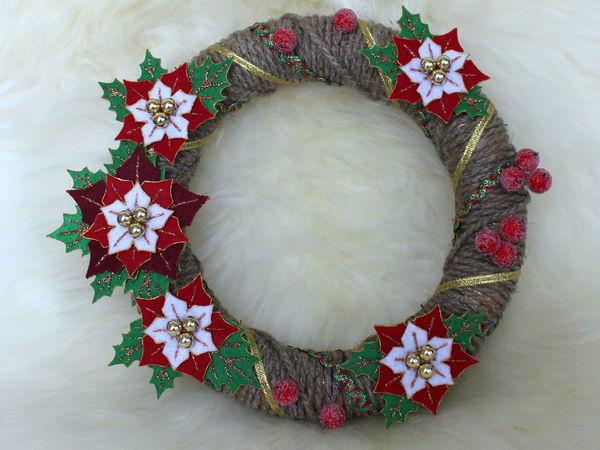 Создание интерьерного новогоднего венка из фетра   Ярмарка Мастеров - ручная работа, handmade