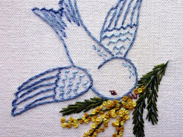 Видео мастер-класс: вышиваем весенний сюжет «Птица с веточкой мимозы» | Ярмарка Мастеров - ручная работа, handmade