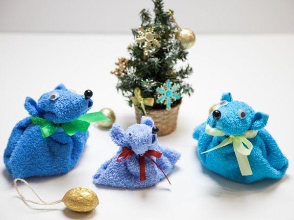 Создаем оригинальную упаковку из полотенца для подарка в виде крысы | Ярмарка Мастеров - ручная работа, handmade