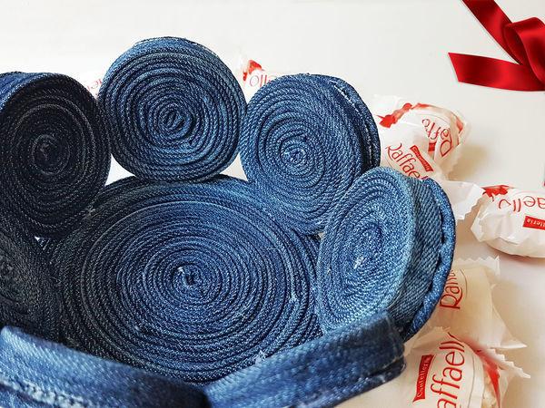 Делаем интересную корзиночку из старых джинсов | Ярмарка Мастеров - ручная работа, handmade