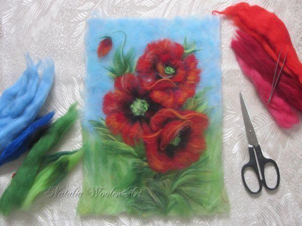 Мастер-класс по живописи шерстью. Маки | Ярмарка Мастеров - ручная работа, handmade