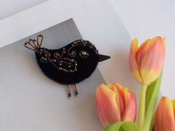 Видео бархатной броши птички   Ярмарка Мастеров - ручная работа, handmade