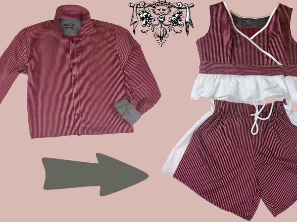 Шьём домашний наряд: шорты и топ из мужской рубашки | Ярмарка Мастеров - ручная работа, handmade