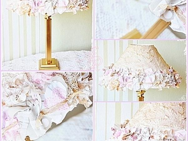 Декорируем абажур салфетками и тканью.   Ярмарка Мастеров - ручная работа, handmade
