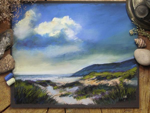 Рисуем морской берег сухой пастелью | Ярмарка Мастеров - ручная работа, handmade