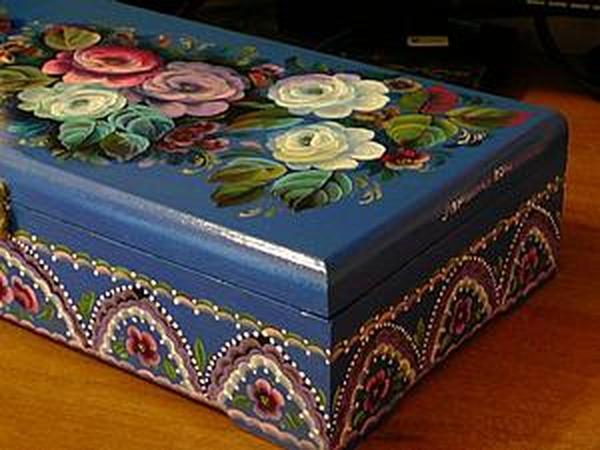 Делаем орнамент на шкатулке двойным мазком   Ярмарка Мастеров - ручная работа, handmade