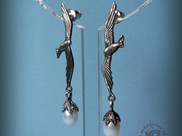 Серьги-пусеты  «Чайки» , серебро, жемчуг | Ярмарка Мастеров - ручная работа, handmade