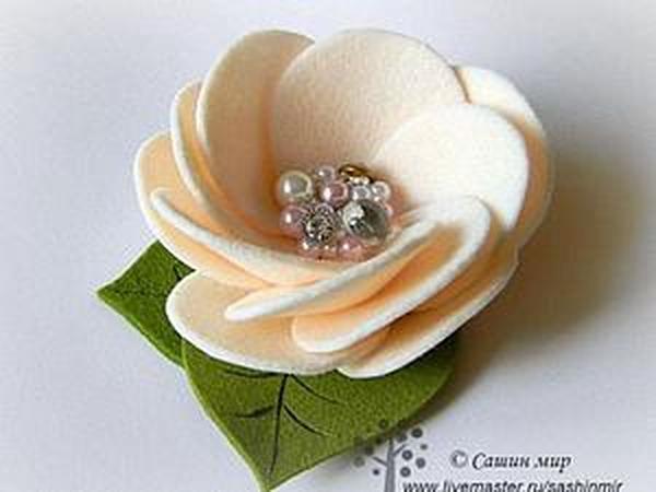 Мастер-класс: цветок из фетра | Ярмарка Мастеров - ручная работа, handmade