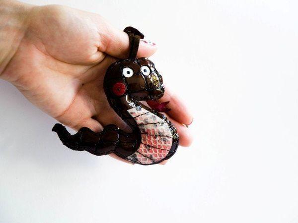 Брелок змея на сумку из натуральной кожи ручной работы   Ярмарка Мастеров - ручная работа, handmade