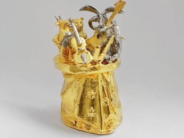 Колокольчик в золоте  «Квартет животных» . Златоуст z10745 | Ярмарка Мастеров - ручная работа, handmade