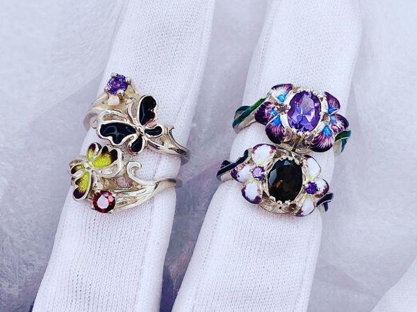 Серебряные кольца с горячей эмалью в наличии | Ярмарка Мастеров - ручная работа, handmade