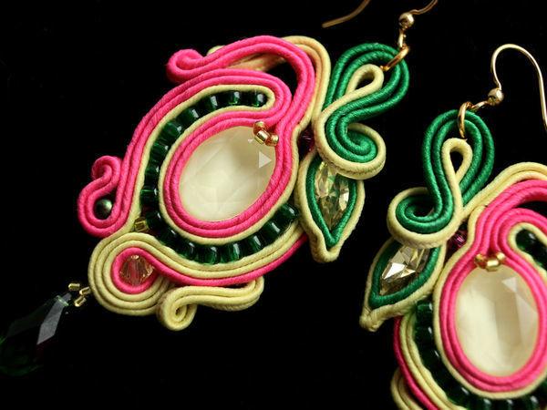 Создание сутажных сережек «Экзотический цветок» с кристаллами Swarovski   Ярмарка Мастеров - ручная работа, handmade