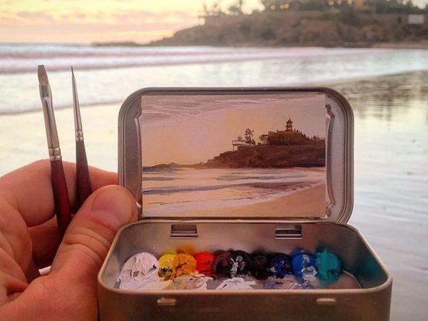Коробочки от конфет вместо мольберта: миниатюрная живопись Ремингтона Робинсона | Ярмарка Мастеров - ручная работа, handmade