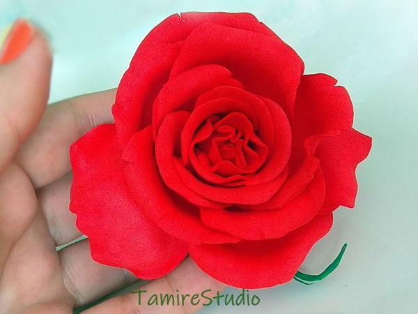 Making Hairpin with Foamiran Rose | Livemaster - handmade