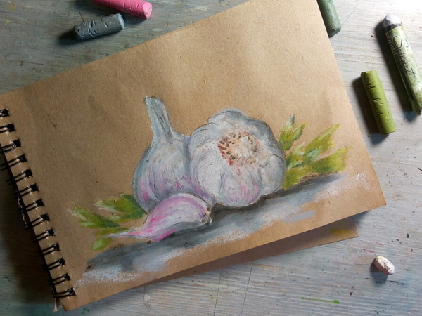 Рисуем чеснок масляной пастелью | Ярмарка Мастеров - ручная работа, handmade