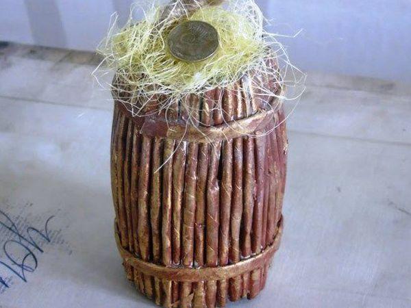 Горшок для топиария в виде бочонка из газетных трубочек | Ярмарка Мастеров - ручная работа, handmade