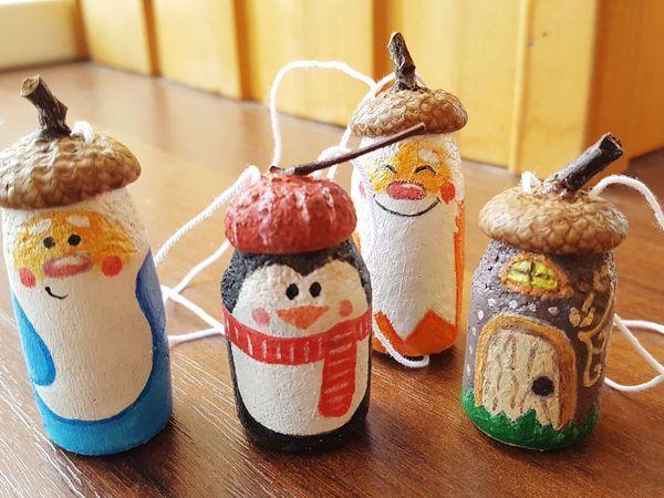 Видео мастер-класс: делаем елочные игрушки из пробки и шляпки желудя   Ярмарка Мастеров - ручная работа, handmade