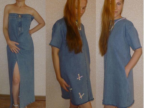 Как сшить платье из джинсовых брюк за три часа | Ярмарка Мастеров - ручная работа, handmade