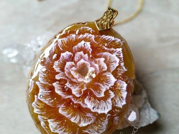 Кулон с росписью по камню  « Вселенская Роза »   Ярмарка Мастеров - ручная работа, handmade