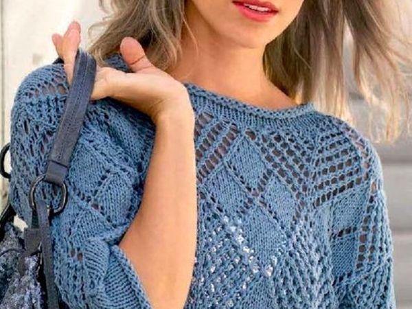 Пуловер из Ажурных  Ромбов, вязанными спицами | Ярмарка Мастеров - ручная работа, handmade