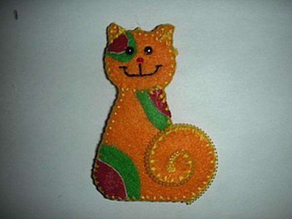 Брошь из фетра «Солнечный кот» | Ярмарка Мастеров - ручная работа, handmade