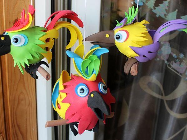 Изготовление попугаев из фоамирана   Ярмарка Мастеров - ручная работа, handmade