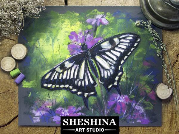 Видеурок: рисуем бабочку сухой пастелью   Ярмарка Мастеров - ручная работа, handmade
