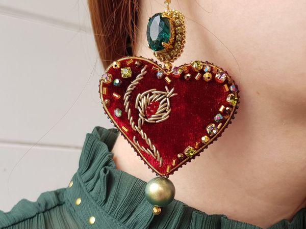 Создаем серьги с бархатными сердцами и кристаллами | Ярмарка Мастеров - ручная работа, handmade