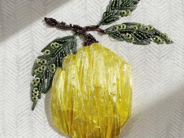 Мастерим вышивку рафией «Лимон» | Ярмарка Мастеров - ручная работа, handmade
