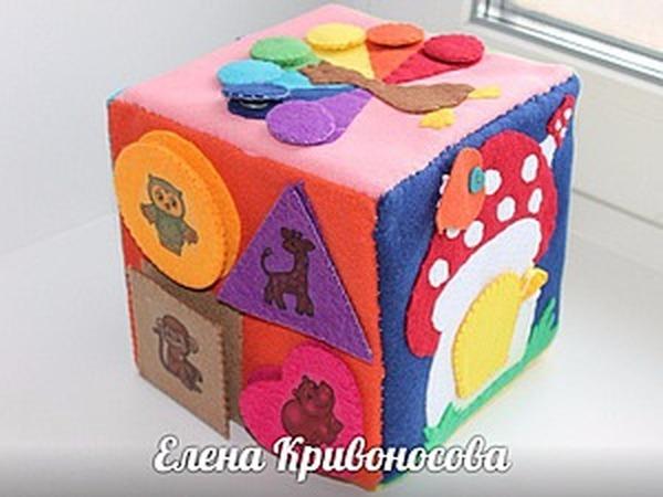 Мастерим развивающий кубик из фетра   Ярмарка Мастеров - ручная работа, handmade
