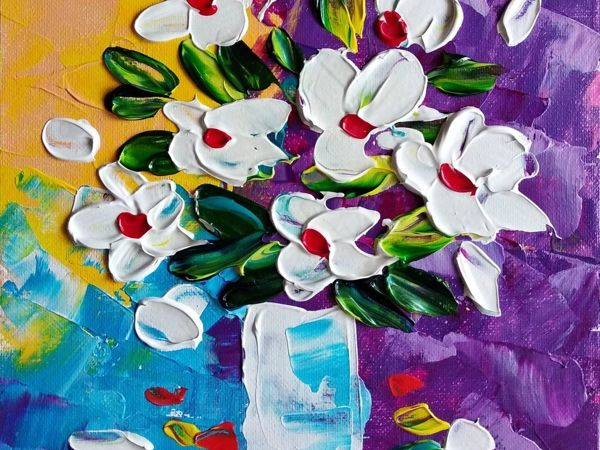 Drawing Bouquet with Palette Knife | Livemaster - hecho a mano - handmade