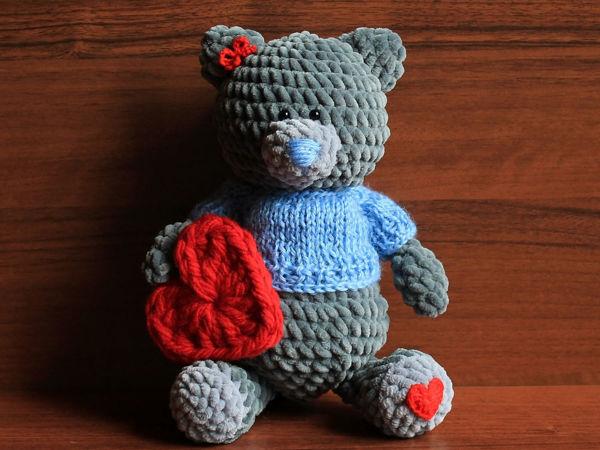 Вяжем мишку Тедди в свитере   Ярмарка Мастеров - ручная работа, handmade