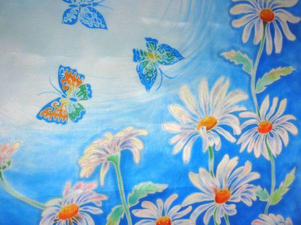 В магазине новинка: батик платок  «Ромашки», приглашаю! | Ярмарка Мастеров - ручная работа, handmade