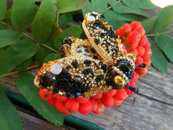 Брошь леопардовая мушка | Ярмарка Мастеров - ручная работа, handmade