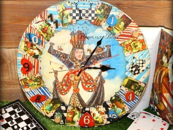 Делаем интересные и яркие часы «Алиса в Стране Чудес»   Ярмарка Мастеров - ручная работа, handmade