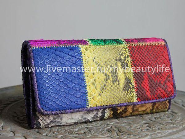 Весенний подарок-кошелек из кожи питона   Ярмарка Мастеров - ручная работа, handmade