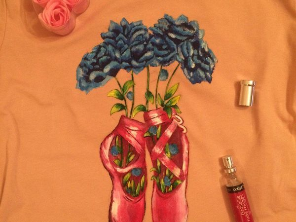 Расписываем футболку «Цветочный балет» | Ярмарка Мастеров - ручная работа, handmade