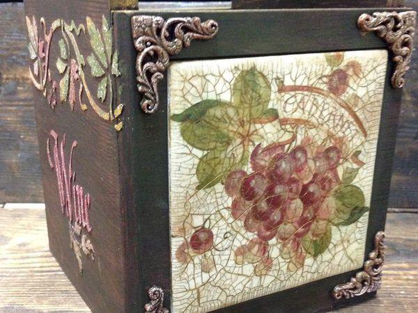 Короб-подставка для вина. Декупаж на плитке, рельефные узоры, старение | Ярмарка Мастеров - ручная работа, handmade