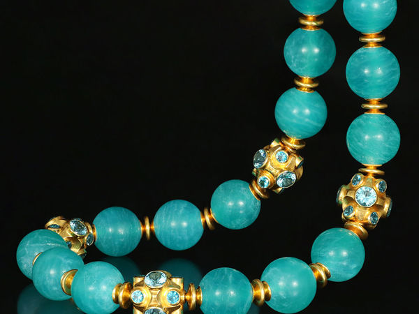 Колье с амазонитом эксклюзивное. Ожерелье из амазонита | Ярмарка Мастеров - ручная работа, handmade