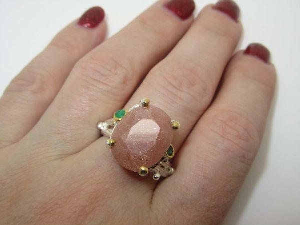 Кольцо с солнечным камнем серебряное | Ярмарка Мастеров - ручная работа, handmade