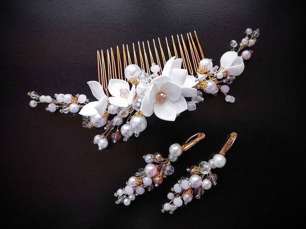 Создаем свадебный комплект — серьги и гребень — из бусин и цветов фоамирана | Ярмарка Мастеров - ручная работа, handmade