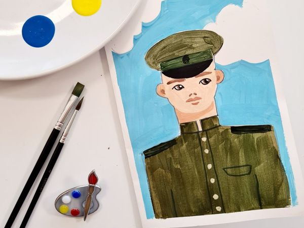 Рисуем открытку на 23-е февраля. Урок «Солдат» | Ярмарка Мастеров - ручная работа, handmade